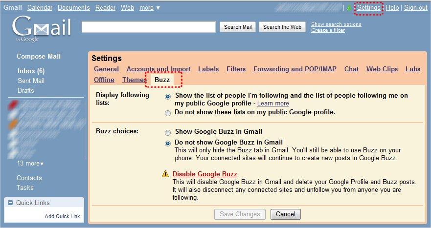 Cómo librarte de Google Buzz