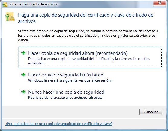 Un detalle agradable del EFS en Windows Vista