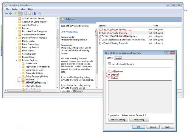 Cómo deshabilitar la navegación InPrivate en Internet Explorer 8.0
