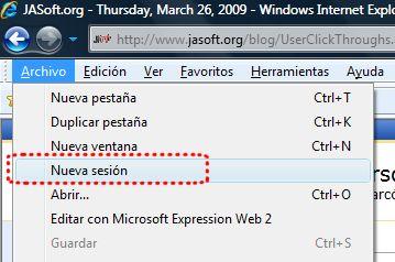 Crear nuevas sesiones en Internet Explorer 8