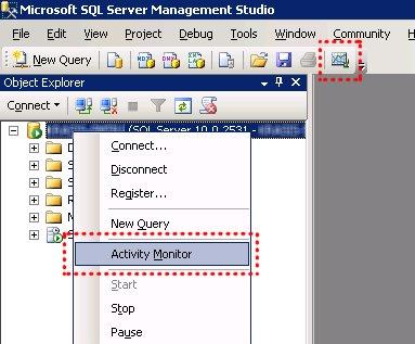 ¿Dónde está el Monitor de Actividad en SQL Server 2008?
