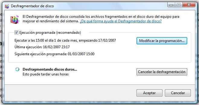 Desfragmentación de discos en Windows Vista