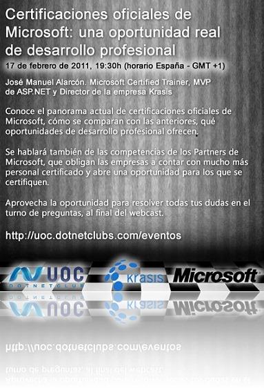 Webcast gratuito: Certificaciones Oficiales de Microsoft, una oportunidad real de desarrollo profesional