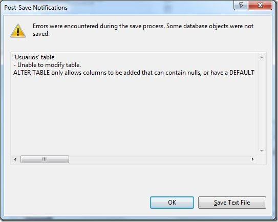 """Mensaje """"No se permite guardar los cambios"""" en SQL Server 2008"""