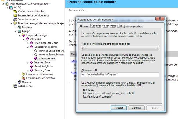Ejecutar código con todos los permisos desde un recurso de red