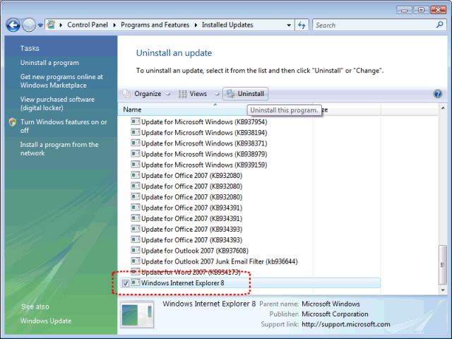 Cómo librarse de Internet Explorer 8 en Vista