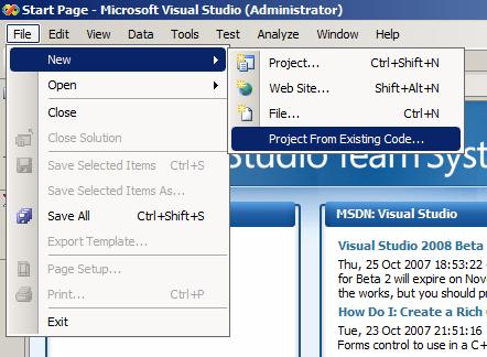 Nuevo asistente para crear un proyecto desde archivos sueltos en VS2008